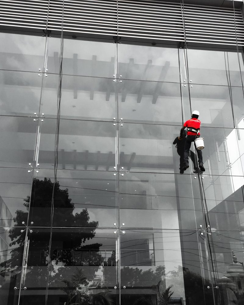 Cleaning the building